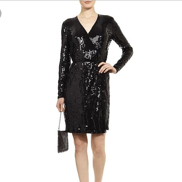 eda64701 Michael Kors: Black sequin Wrap Dress. M_5aa7eead72ea88e1fd439bb6